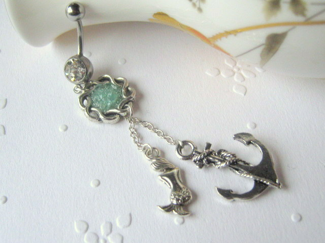 Mermaid and anchor belly button ring belly button jewelry for Belly button jewelry store
